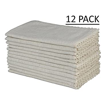 Cotton Craft - 12 Pack Oversized Flax with Lace Dinner Napkins - 20x20 Natural, 100% Flax, Tailored with Mitered Corners and a Generous Hem, Napkins are 38% Larger Than Standard Size Napkins