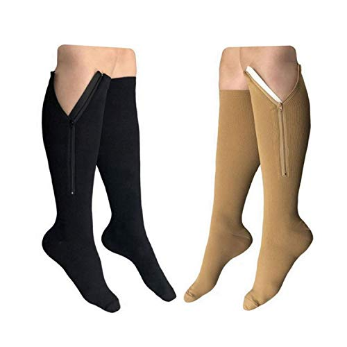HealthyNees 2 Pairs Set Closed Toe 20-30 mmHg Zipper Compression Fatigue Swelling Circulation Knee Length Socks, Multi, L/XL