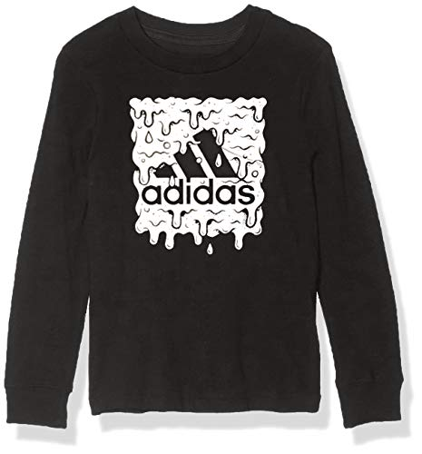 adidas Boys' Long Sleeve Cotton Jersey Graphic T-Shirt, Slime BoS Black/Silver, 6