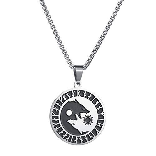 Holibanna Colares de amuleto de lobo em aço de titânio com pingente nórdico vikings pingente talismã joia amuleto