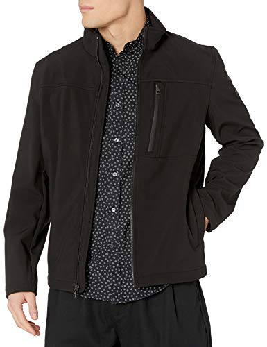 Calvin Klein Men's Water Resistant Soft Shell Open Bottom Jacket (Standard and Big & Tall), Black, X-Large