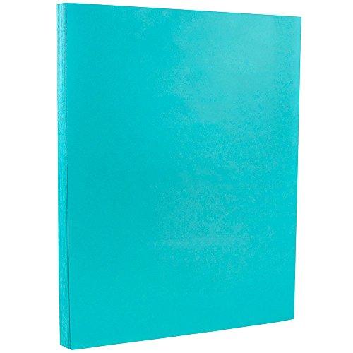 JAM PAPER Cartoncino Colorato Brillante - 215,9 x 279,4 mm Coverstok - 176gsm - Blu Mare Riciclato - 50 Fogli/Confezione