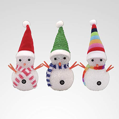 YAKii LED Snowmen Lamp Color Changing with Colorful Hat & Scarf for Christmas Decor, Battery Operated, Set of 3