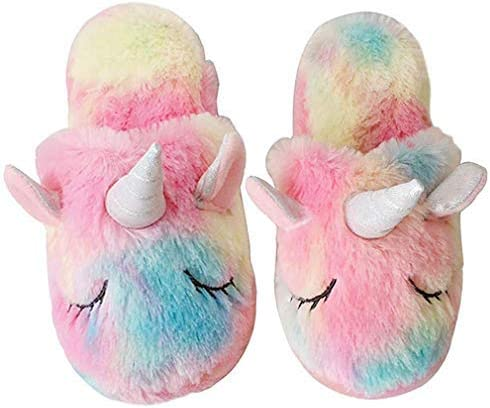 Unicorn Slippers Soft Plush Cute Fuzzy Comfy Warm Bedroom Slip-on Shoes