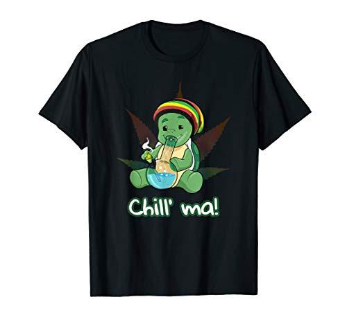 Chill ma Bong Kiffer T-SHIRT Cannabis Schildkröte rauchen