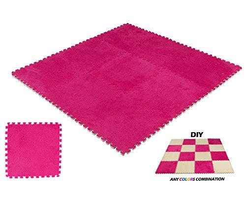 Interlocking Carpet Squares 9 Tiles Burgundy Fuzzy Fluffy Plush Foam Mats for Living Room, Bedroom, Kitchen and Hard Floor by DeElf