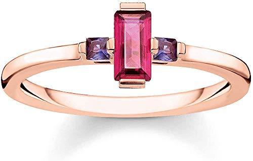 Thomas Sabo Damen-Ring Stein Baguette-Schliff rot 925 Sterlingsilber roségold vergoldet TR2258-540-10-52