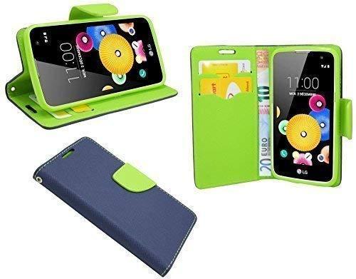 ENERGMiX Elegante Buch-Tasche kompatibel mit LG K4 (K120) in Blau-Grün Leder Optik Wallet Book-Style