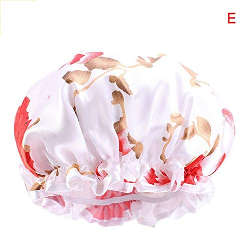 Gorra de Noche con Sombrero Bonnie de Seda Satinada Extra Grande con Banda elástica, Adecuada para Tocado de Color sólido para Mujer, Sombrero de Noche Rizado-E