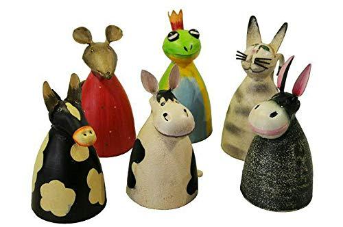 Hochwertige Zaunhocker im Sparset – Pfostenhocker/Zaunfigur Metall – Gartendekoration Zaungucker – Deko Tierfiguren/Gartenfiguren (Tiere - 6er Set)