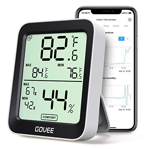 Govee Indoor Hygrometer Thermometer, Humidity Temperature Gauge with Large LCD Display, Notification Alert with Max Min Records, 2-Year Data Storage Export for Room Incubator Greenhouse Wine Cellar