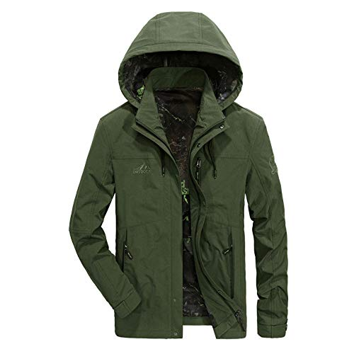 Men's Faux Leather Jacket Biker Fashion Cotton Coats Loose Large Size Men's Jacket-Army Green_M