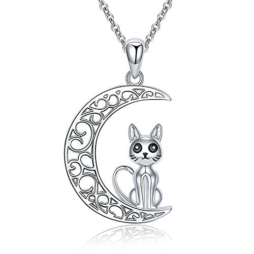 XQAQW Colgante de Luna de Mujer 925 Cadena de Collar de Plata esterlina con Gato y Lindo Animal joyería Jn800513-M_40Cm_and_5Cm