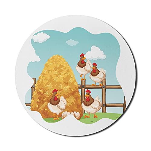 Hay Mouse Pad für Computer, Chicken Rooster Eggs sitzen auf den Zäunen der Farm Bio ökologische Landwirtschaft, Runde rutschfeste dicke Gummi Modern Gaming Mousepad, 8 'rund, mehrfarbig