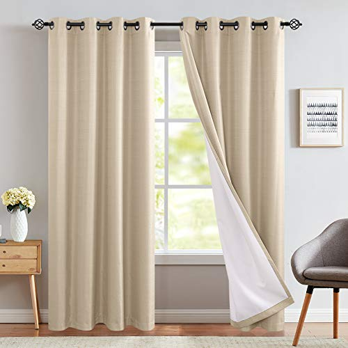 Room Darkening Curtains Beige 84 inch Long for Bedroom Moderate Blackout Curtains Thermal Drapes Grommet Top One Panel