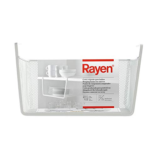 Rayen Blanco Cesta Colgante para Baldas | Multifuncional | Fácil Instalación | Dimensiones, Medidas: 30 x 15 x 25 cm