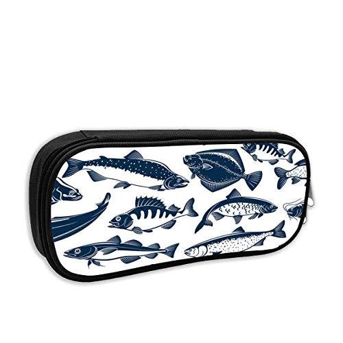 IOPLK Astuccio per scuola di moda, pesce di pesca, tonno, luccio e penna per pesce persico, borsa...