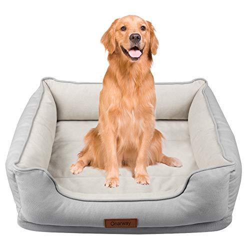 Onarway - Cama para perro XL de lujo, de terciopelo granular corto, suave, transpirable, de algodón completo con cojín de espuma viscoelástica desmontable (XL (90 x 68 x 26 cm)