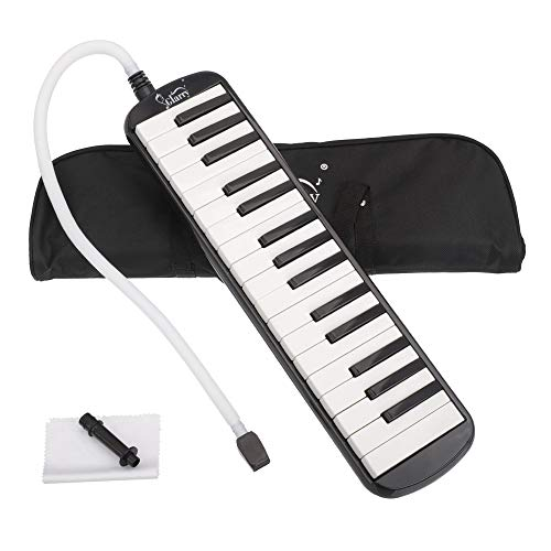 Glarry 32 Keys Melodica Musical Instrument for Music Lovers Gift with Carrying Bag (Black)