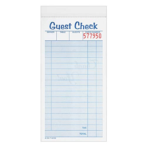 Adams Guest Check Pads, 2-Part, Carbonless, White/Canary, 3-3/8' x 6-3/8', 50 Sets per Pad, 10 Pack (104-50SW)
