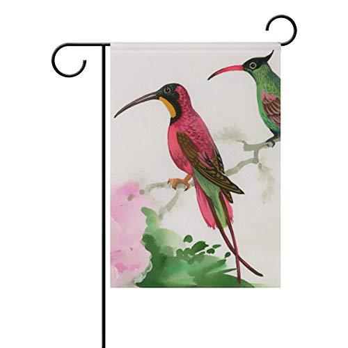 TIZORAX Aquarel Schilderij Van Vogels Zittend Op Tak Thuis Tuin Vlag Dubbele Zijde Lente Zomer Yard Outdoor Decoratieve Huis Vlag 12x18 Inch Large-28x40-Inch Meerkleurig