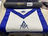 Masonic Master Mason Apron-Blue Lodge White Cloth with Embroidery
