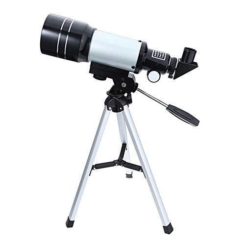 Telescopio monocular astronómico 150X con apertura de 70 mm, longitud focal 300 mm, 2 oculares, trípode portátil HD refractor telescopio para niños adultos principiantes