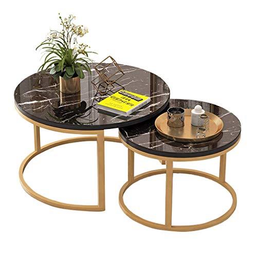 Moderner Beistelltisch 2er-Set, runde Marmorplatte, schwarzer Metallfuß Satztische Couch am Seitenende des Sofas Modernes Büro Wohnzimmer Dekor Möbel, (Farbe: Gold, Größe:M(50CM/70CM))