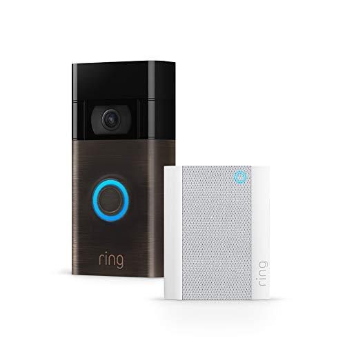 Die neue Ring Video Doorbell + Ring Chime von Amazon | HD-Video, fortschrittliche Bewegungserfassung und einfache Installation (2. Gen.)