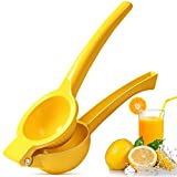 Upgraded Lemon Squeezer Manual, Whekeosh Lemon Lime squeezer Metal Citrus Squeezer Press Juicer Handheld Fastest Extraction of the Freshest Juicer, Easy to Clean - Yellow