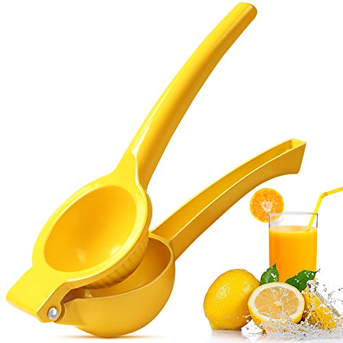 Upgraded Lemon Squeezer Manual - Lemon Lime squeezer Metal Citrus Squeezer Press Juicer Handheld Whekeosh Fastest Extraction of the Freshest Juicer Easy to Clean - Yellow