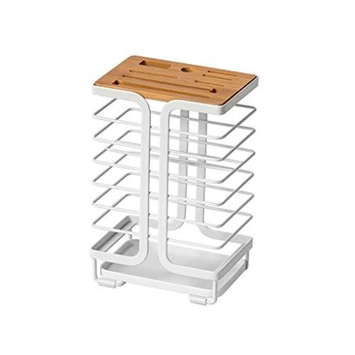 8 Steckplätze Leer Universalmesserhalter Aus Schmiedeeisen, Küchenblock Regal Ohne Messer Weiß 0627