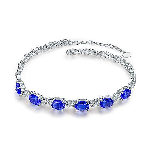 AnazoZ Pulsera Tanzanita Mujer,Pulsera Oro Blanco Mujer 18K Plata Azul Oval Tanzanita Azul 4.8ct Diamante 0.36ct