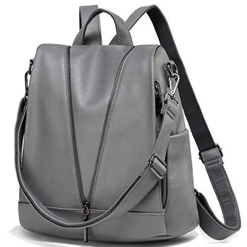 Kasgo Diebstahlsicherer Rucksack Damen, Wasserabweisend Kunstleder Rucksack Elegant Handtasche Casual Daypack für Frauen Hochschule Mädchen Reise Arbeit(Grau)