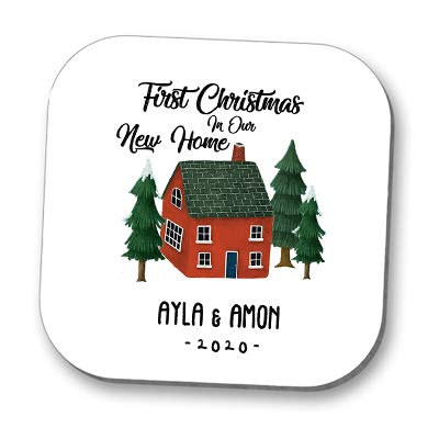 Posavasos personalizable con texto en inglés 'First Christmas In Your New Home'
