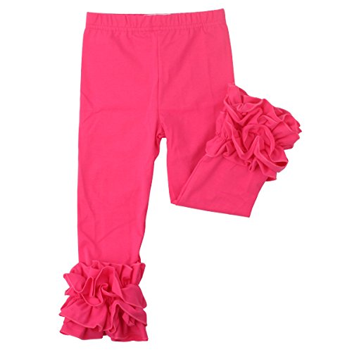 Slowera Little Girls' Ruffle Leggings Baby Toddler Solid Color Pants (Hot Pink, XXXS: 3-6 Months)