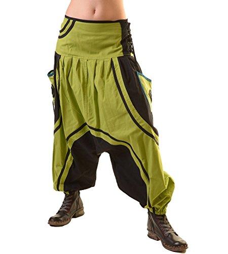 KUNST UND MAGIE Unisex PSY Baggy Pants Hippie Hose Goa Baumwoll Tanzhose mit Schnürung, Größe/Size:S/M;Farbe:Schwarz/Grün