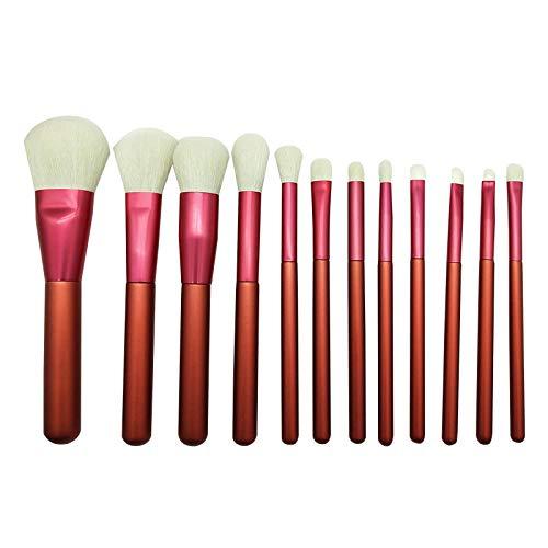 Paquet de 12 pinceaux de maquillage portatifs multifonctions Fibre Blush Fondation Fond de teint Pinceau Blush Pinceau Blanc