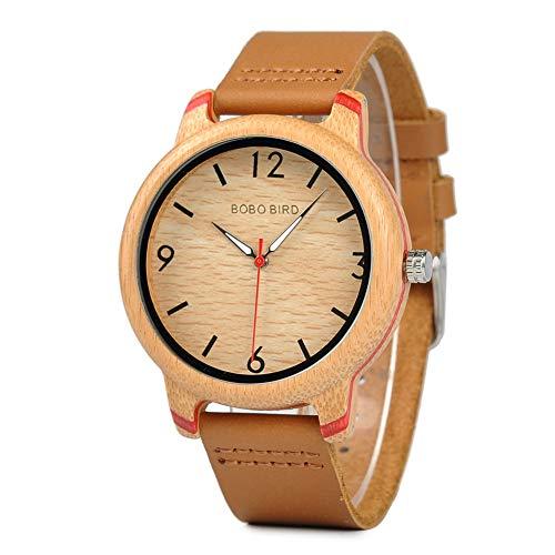 Pamura - Lovely - Holzuhr Herren Damen Unisex Armbanduhr mit Lederarmband (Rot Herren)