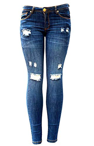 C'est TOI Womens Blue Denim Stretch Jeans Destroy Skinny Ripped Distressed Pants (11)