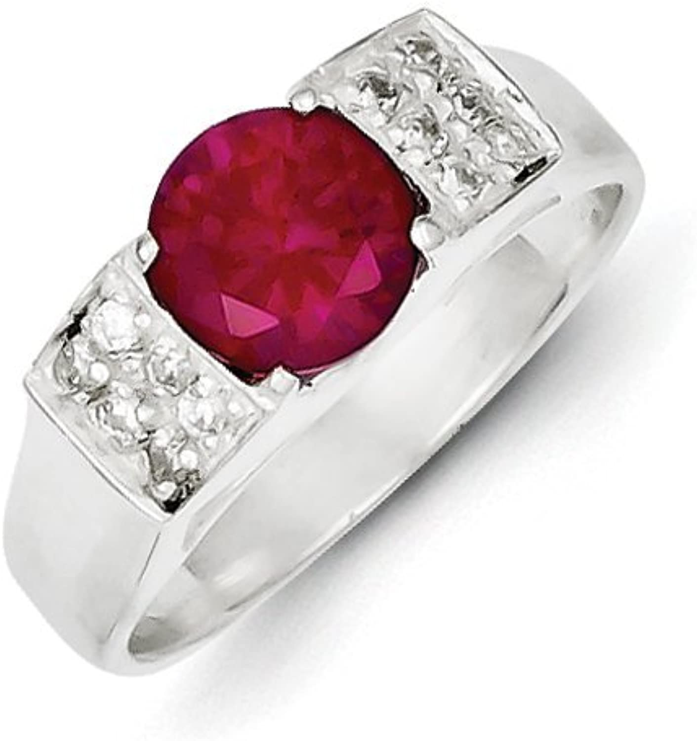 gold and Watches Sterling Silver Red Round w Pave Sides CZ Ring