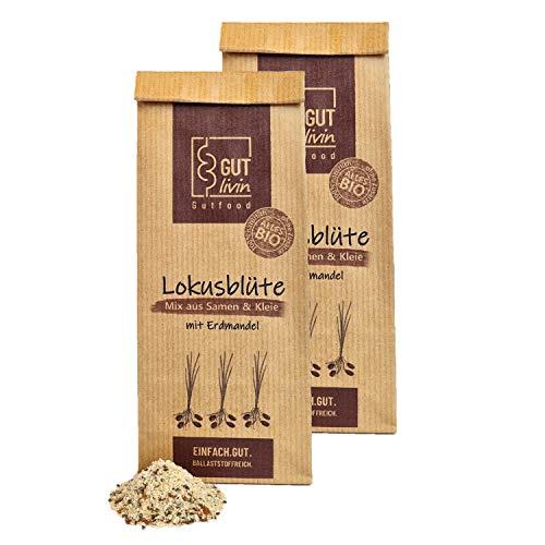 GUT livin Lokusblüte | BIO Mix aus Samen und Kleie mit Erdmandel | wertvolle Ballaststoffe für deine Verdauung | Superfood für den Darm | Geschenkidee | 2x400g - ca. 60 Portionen