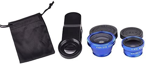 Blue Universal Clip on 180 degree 3 in 1 Fisheye Wide Angle Macro Camera Lens for iPhone 5 5S product image