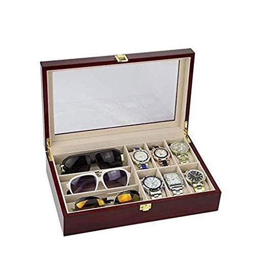 ZHENAO Caja de joyería - Caja de almacenamiento de relojes Embalaje de regalo Caja de madera Exquisita pulsera de reloj Caja de colección de acabado clásico