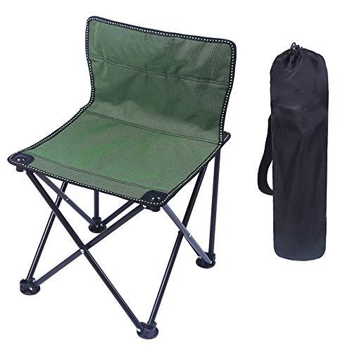 Chaise de camping pliante portative, chaise portative légère pour la pêche, pêche, pique-nique sur la plage, jardinage, chaise de camping, avec sac de transport, capacité de 130 kg (1 pièce),Green