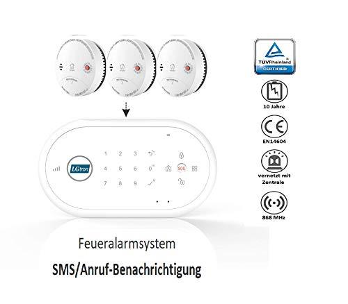LGtron LH-99F Funk Rauch-/Hitzemelder TÜV geprüft EN14604 Zertifiziert mit 10-J.-Bat in...