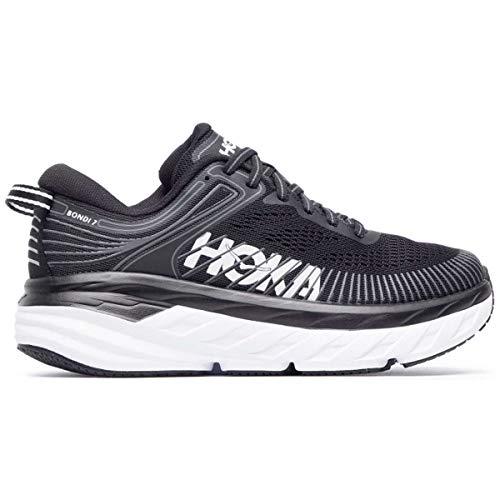 Hoka One One Tênis de couro feminino Bondi SR, Black/White, 9.5
