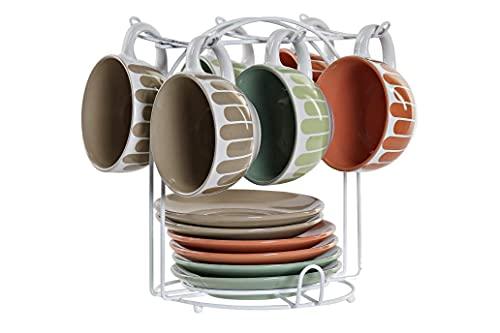 Precioso Juego de 6 Tazas y 6 platos de Cerámica con Soporte Metálico de Diseños Moderno y Actual para Café con leche Te Chocolate –Diseño Original – 160ml – 20x14x21 cm. (2)