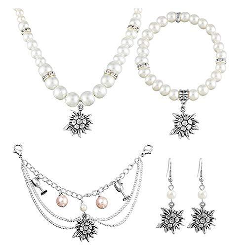 MJARTORIA Damen Oktoberfest Schmuck Set Edelweiß Kette Armband Ohrringe Trachtenkette Charivari mit Perlen 4 Stück