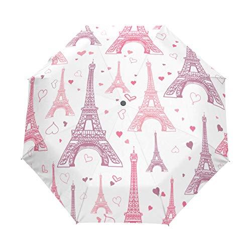 Jeansame Eiffeltoren Parijs Bloem Frans Roze Vouwen Compacte Paraplu Automatische Regen Paraplu's voor Vrouwen Mannen Kid Jongen Meisje